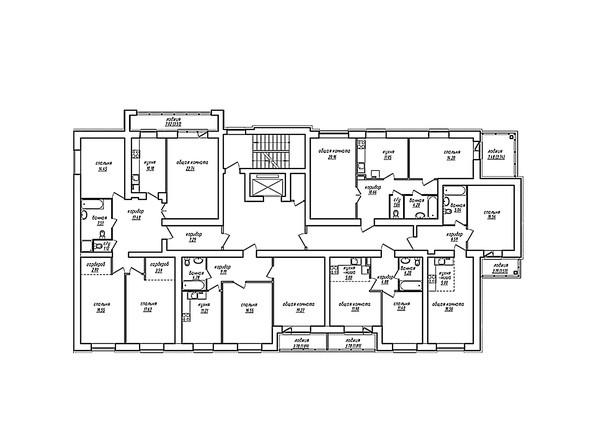 Планировки Жилой комплекс ПАРКОВЫЙ, Б/С 1,2 - Блок-секция 1. Планировка типового этажа