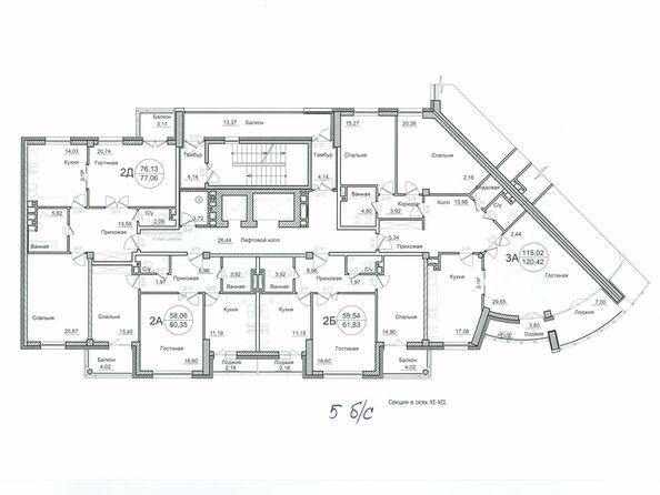 2 очередь строительства, типовой этаж, 5 подъезд
