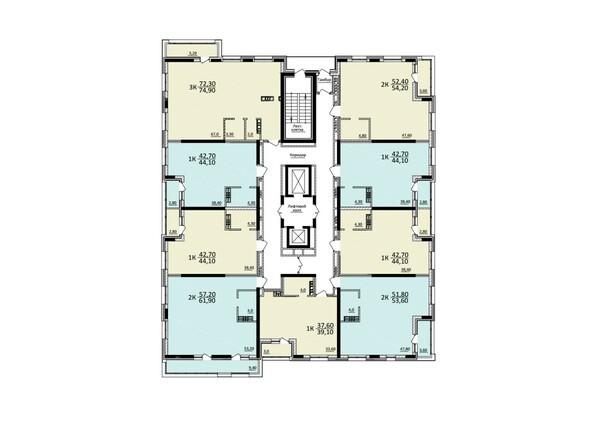 Планировки Жилой комплекс КУЗЬМИНКИ, дом 1 - Планировка 13-20 этажей