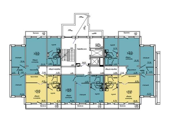 Планировки Жилой комплекс Иннокентьевский, 3 мкр, дом 6 - Подъезд 3. Планировка 2 этажа