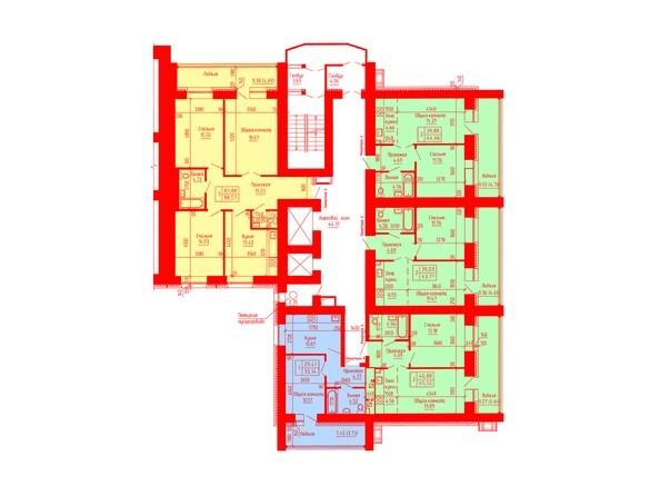 Планировки Жилой комплекс ЛАЗУРНЫЙ-2, дом 3 - Планировка 2-7 этажей, 1 б/с