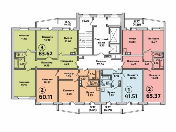Планировки Жилой комплекс РОДНИКИ, дом 603 - Планировка 1 подъезда дом 603
