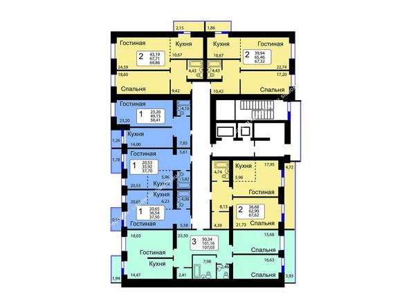 Планировки Жилой комплекс РЯБИНОВЫЙ САД, 3 оч, 2 этап - 10-16 этажи 11 б/с