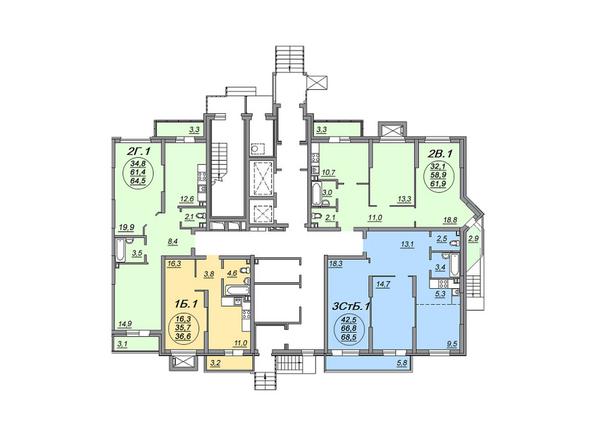 Планировки Жилой комплекс МАТРЕШКИН ДВОР 105, дом 2, 1 этап - Блок-секция 1. Планировка 1 этажа