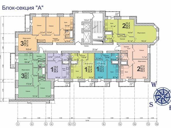 Планировки Жилой комплекс ВЕРХНИЙ БУЛЬВАР, 7 дом, б/с а,б,в - Планировка типового этажа б/с «А»