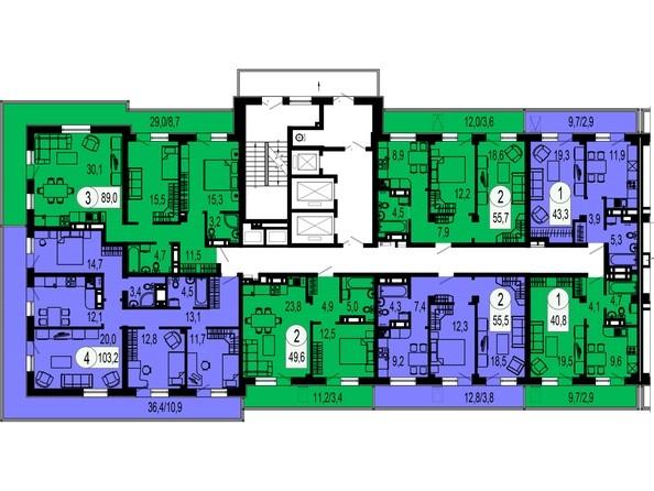 Планировки Жилой комплекс ТИХИЕ ЗОРИ, дом 1 (Красстрой) - Блок-секция 1. Этажи 20-25