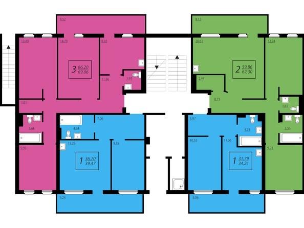 Планировки Жилой комплекс ЖИВЁМ эко-район, 2 квартал, дом 2 - Дом №1. Секция №1. 1 этаж