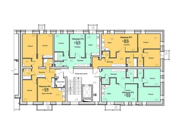 Планировка 2-3 этажей 4 подъезд