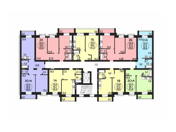 Планировки Жилой комплекс СВОБОДА, дом 6 - Подъезд 2. Планировка 3 этажа