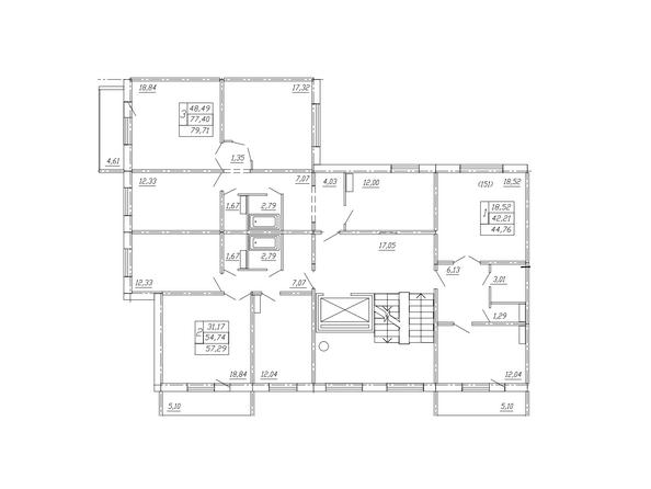 Планировки ТАРСКАЯ КРЕПОСТЬ-2, дом 10, оч 2 - Блок-секция 2. Планировка типового этажа