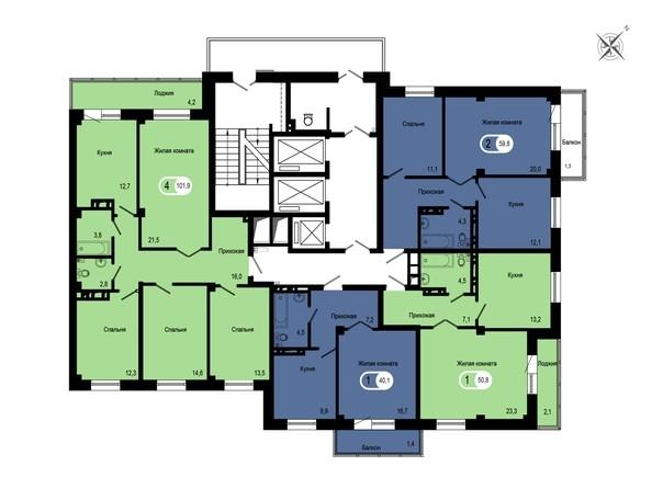 Планировки Жилой комплекс GEO (ГЕО), б/с 1-2 - Блок-секция 1. Планировка типового этажа