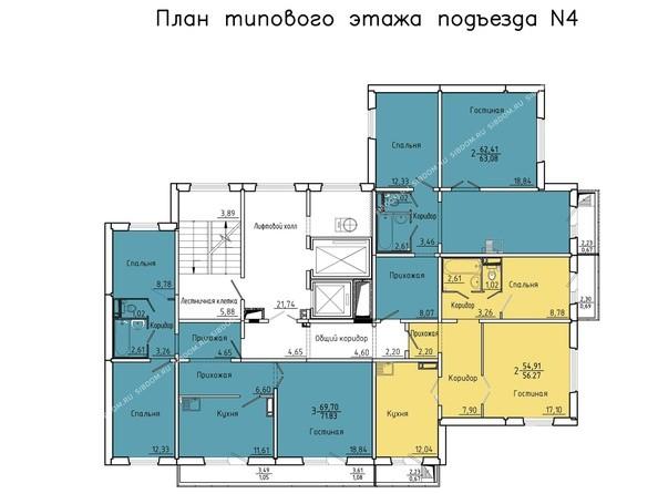 Планировки Жилой комплекс Покровский, 3 мкр, дом 5 - 4 подъезд, 2-14 этажи