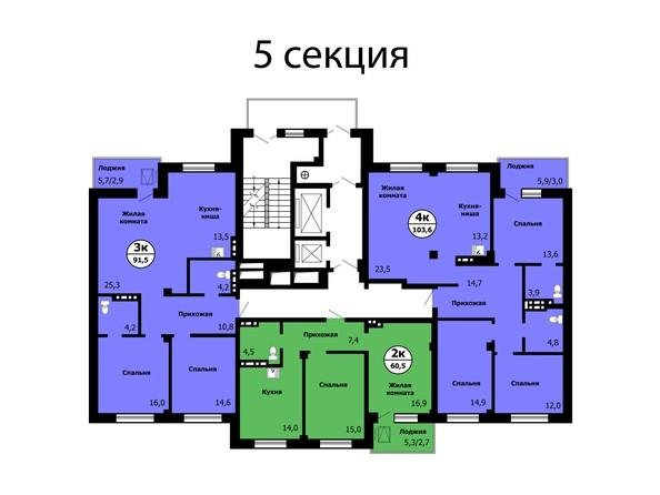 Планировка типового этажа, секция 5