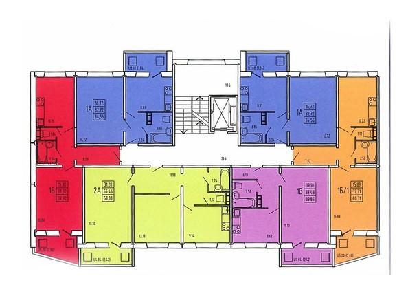 Планировки Жилой комплекс ЗНАМЕНСКИЙ КВАРТАЛ (Журавлева,3), этап 2 - Планировка типового этажа