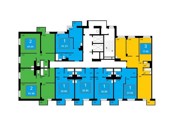 Планировки Жилой комплекс ПРЕОБРАЖЕНСКИЙ, дом 13 - Подъезд 2. Планировка четных этажей
