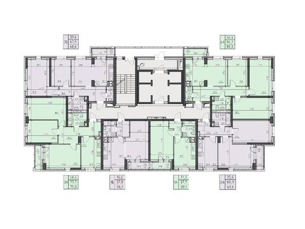 Планировки Жилой комплекс НА ВЫСОТЕ, 2 этап - Планировка 3, 5, 7, 9, 11 этажей