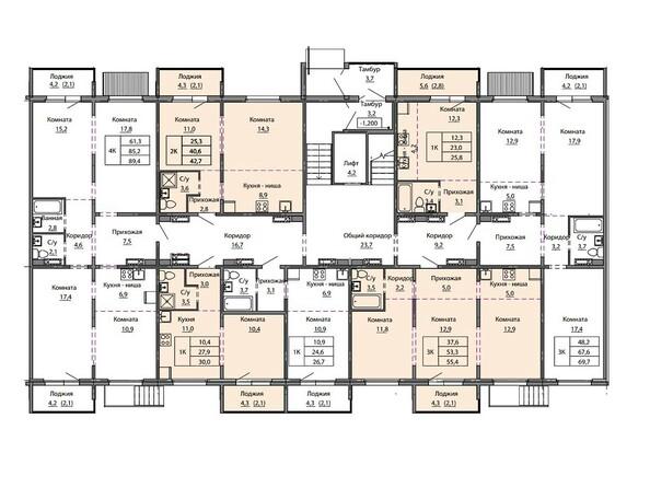 Планировки МОТОР, корпус 1 - Блок-секция 3. Планировка 1-5 этажей