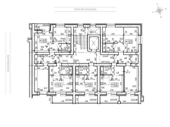 Планировки Жилой комплекс ОСТРОВСКОГО, 23 - Планировка 3-8 этажа, 2 б/с