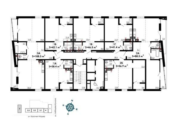 Планировки Жилой комплекс СИТИ ПАРК, б/с 2 - Планировка 2, 6, 10, 14 этажей