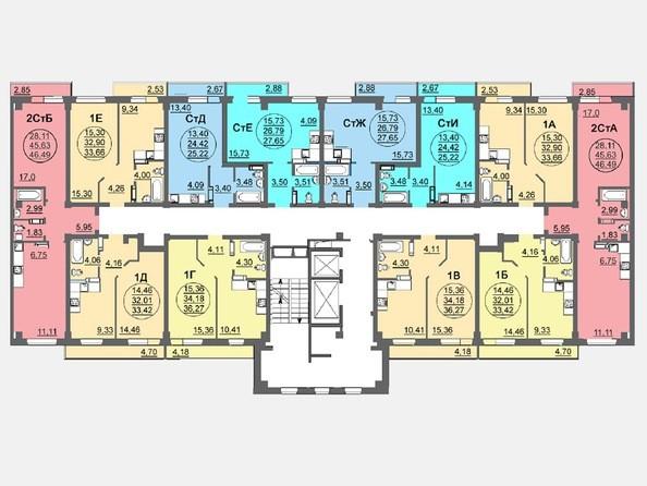 Планировки Жилой комплекс ЛЕТО, дом 3, б/с 1,2 - Блок-секция 2. Планировка 2-16 этажей