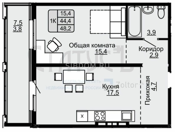 Продам 1-комнатную, 48.2 м², . Фото 1.