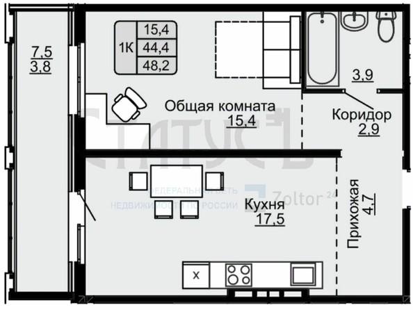 Продам 1-комнатную, 48 м², . Фото 1.