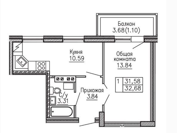 Продам 1-комнатную, 32.68 м², БАРНАУЛЬСКИЙ ЛЕС, 35а/2. Фото 3.