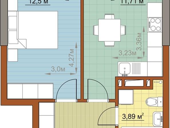 Продам 1-комнатную, 32.99 м2, Николая Островского ул, 60. Фото 1.