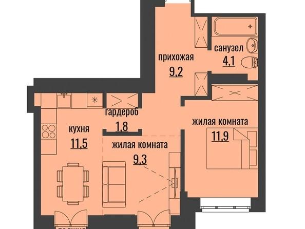 Продам 2-комнатную, 50.62 м2, АКАДЕМИЯ, 1 корпус. Фото 1.
